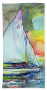 Sailboat Evening Wc On Paper Beach Towel