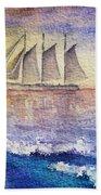 Sailboat In The Ocean Beach Towel