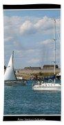 Sailboat On Lake Ontario Near Old Fort Niagara 2 Beach Towel