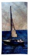 Sailboat Slow W Metal Beach Towel