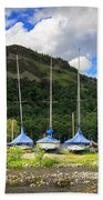 Sailboats At Glenridding In The Lake District Beach Towel