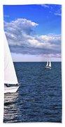 Sailboats At Sea Beach Towel
