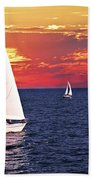Sailboats At Sunset Beach Towel by Elena Elisseeva