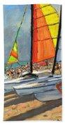 Sailboats Garrucha Spain  Beach Towel by Andrew Macara