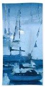 Sailboats In The Fog II Beach Towel