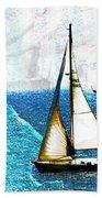 Sailboats In The Harbor Beach Towel