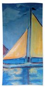 Sailboats With Red And Yellow Sails Beach Towel
