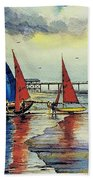 Sailing At Penarth Beach Towel