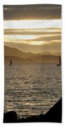 Sailing At Sunset On The Bay Beach Towel
