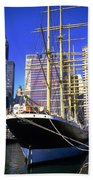 Sailing Boat Anchored In South Street Seaport 1984 Beach Towel