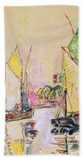 Sailing Boats At Les Sables D Olonne  Beach Towel