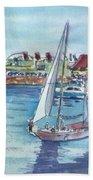 Sailing By Shoreline Village Beach Towel