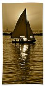 Sailing In Sepia Beach Towel
