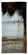 Sailing On A Cloudy Morning Beach Towel by Lainie Wrightson