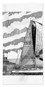 Holland Harbor Lighthouse And Spinaker Flying Sailboat Beach Towel