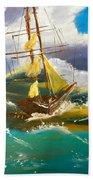 Sailing Ship In A Storm Beach Towel