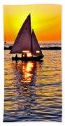 Sailing Silhouette Beach Sheet