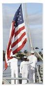 Sailors Hoist The American Flag Beach Towel