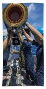 Sailors Load Rim-7 Sea Sparrow Missiles Beach Towel