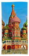 Saint Basil Cathedral In Red Square In Moscow- Russia Beach Towel