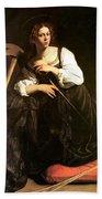 Saint Catherine Of Alexandria Beach Towel by Caravaggio
