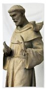 Saint Francis Of Assisi Statue With Birds Beach Towel