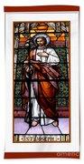 Saint Joseph  Stained Glass Window Beach Towel