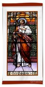 Saint Joseph  Stained Glass Window Beach Sheet