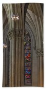 Saint Patrick's Cathedral Stained Glass Window Beach Sheet