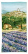 Saint Paul De Vence And Lavender Beach Towel