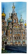 Saint Petersburg Russia The Church Of Our Savior On The Spilled Blood Beach Towel by Irina Sztukowski