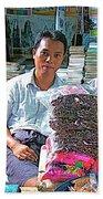 Salesman In The Marketplace In Tachilek-burma Beach Towel