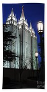 Salt Lake Mormon Temple At Night Beach Towel