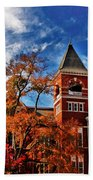 Samford Hall In The Fall Beach Towel by Victoria Lawrence