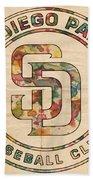 San Diego Padres Logo Art Beach Sheet