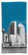 San Diego Skyline 1 - Steel Beach Towel
