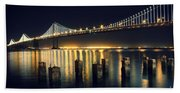 San Francisco Bay Bridge Illuminated Beach Towel