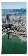 San Francisco Bay Piers Aloft Beach Towel