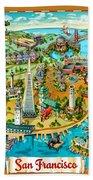 San Francisco Illustrated Map Beach Towel