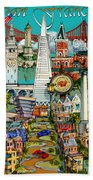 San Francisco Illustration Beach Towel