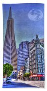 San Francisco Transamerica Pyramid And Columbus Tower View From North Beach Beach Towel