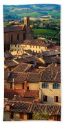 San Gimignano From Above Beach Towel by Inge Johnsson