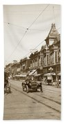 94-095-0001 Early Knox Automobile First Street San Jose California Circa 1905 Beach Towel