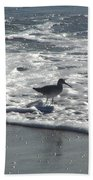 Sandpiper In The Surf Beach Towel