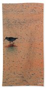 Sandpiper On Shoreline Beach Towel