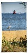 Sandy Pt Shoal Lighthouse And Blue Heron Beach Towel
