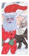 Santa And His Reindeer Beach Towel
