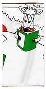 Santa And Reindeer Conference Beach Towel