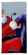 Santa Blue Beach Towel