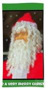 Santa Christmas Card Beach Towel